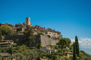 Panoramic view of the village of Saint-Paul-de-Vence on top of hill.